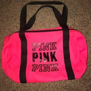 PINK hot pink duffel bag